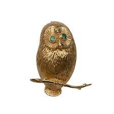 Emerald Owl Brooch 14K Solid Gold Weight 8.8 Grams