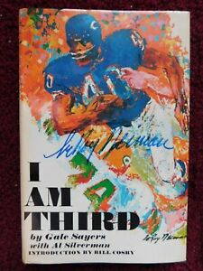 """GALE SAYERS signed 1970 BOOK - """"I AM THIRD"""" [DUST JACKET signed by leROY NEIMAN]"""