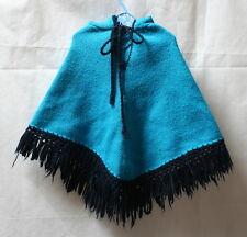 Poncho rétro laine bleue 3 ans
