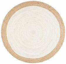 Handmade Jute Rag Rug Round Floor Rug Natural Fiber Area Mats 4 x 4 feet Dhurrie