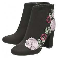 Dolcis Felicity Zip Ankle Boot Black Embroidered Faux Suede NEW !Size 4  RRP £55