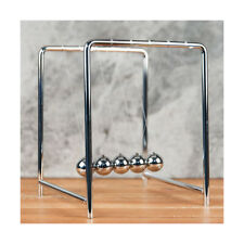 Chrome Finish Metal Newtons Cradle Office Desk Gadget Physics Balance Ball Gift