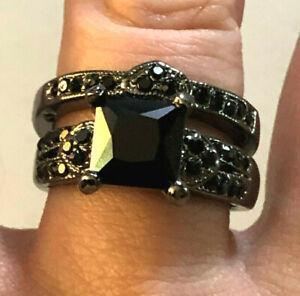 Gothic Wedding Ring Set Black Princess Crystals Black Rhodium Gunmetal Sz 6 1606
