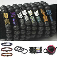 Lava Rock 8mm Beads Hematite Arrow Diffuser Stone Energy Bracelet for Women Men