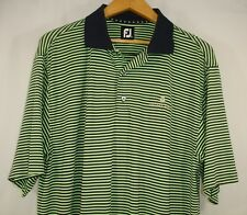 FootJoy Mens Short Sleeve Navy Blue Green Stripe Polo Golf Shirt M
