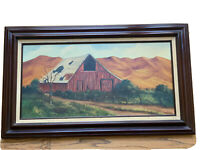Vintage Red Barn Oil On Canvas Painting Landscape Signed