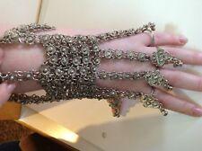 Antique Judaica bridal silver Yemenite jewelry bracelet ring 19TH  (m1876)