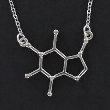 Caffeine Molecule Necklace - Pewter with Chain Coffee Tea Chemical Structure NEW