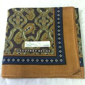 ART VINTAGE CLASSIC HANDKERCHIEF GOLD BROWN PAISLEY MEN'S POCKET SQUARE SCARF19""