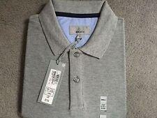 M & S Grau Polo Style T. Shirt mit Kragen aus reiner Baumwolle-Größe S-Lang-Bnwt