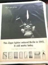 1962 VINTAGE PRINT AD 10X14 ZIPPO LIGHTER WORKS AFTER NORMANDY+OCCUPATION BERLIN