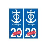 Autocollant plaque auto ancre Camargue numéro département au choix -  Angles : d