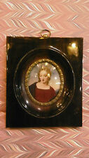 Great Antique hand painted miniature portrait painting of woman
