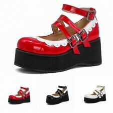 Women Lolita Cleated Sole Creepers Round Toe Platform Mary Janes Cosplay Shoes L