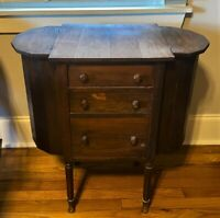 Antique Mahogany Martha Washington Sewing Table Stand Cabinet, Flip Top Side