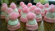 18 new hand crochet baby shower girl party favor gift mini hats decor pink white