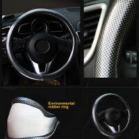 38cm Auto Car Steering Wheel Cover PVC Foam Leather + Carbon Fiber Leather Black
