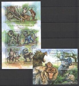 Mozambique 2011 MNH Odd Shape Stamps, Monkeys, Wild Animals (N172)