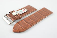My Swiss Leather Strap Watch Bands Crocodile Pattern Width 32mm. Brown color