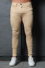 Mens Super Stretch Denim Designer Spray Ons Tight Camel Sand Tan Skinny Jeans