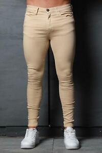 Mens Super Stretch Denim Designer Spray Ons Tight Camel Sand Tan Skinny Jeans