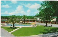 Postcard FL Southernaire Motel Swimming Pool Swings Tallahassee Florida 1960s