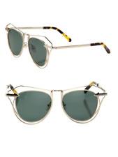 6a66129ef26b Karen Walker Marguerite Cutout Cat Eye Gold Tone Sunglasses Retail