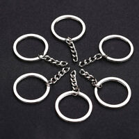 10pcs DIY Polished Silver Short Chain Keyring Keychain Split Ring Key Rings_QA