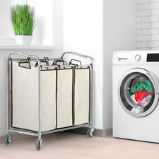 Bathroom Laundry Hamper Basket Heavy Duty 3 Section Basket with Rolling Wheels