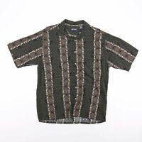 Vintage PURITAN Dark Green Hawaiian Pineapple Print Shirt Men's Size Medium