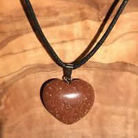 """Red Goldstone Crystal Heart Pendant 25mm with 20"""" Black Cord Necklace Positivity"""