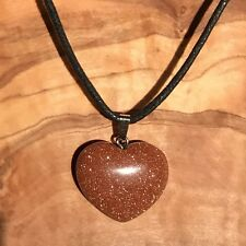 "Red Goldstone Crystal Heart Pendant 25mm with 20"" Black Cord Necklace Positivity"