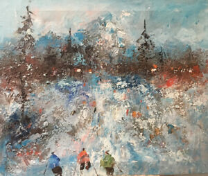Vintage Original Oil Painting Signed Unknown Artist Skiing Winter Olympics?