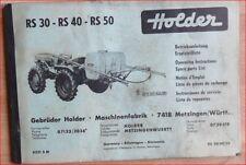 Holder Spritze RS 30 , RS 40 , RS 50 Betriebsanleitung und Ersatzteilliste