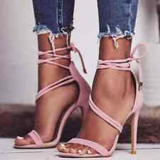 Womens Heels Lace Up High Heels Pink Cute Casual Strappy Summer Evening Sandals