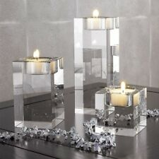 3pcs Romantic Crystal Glass Cube Candle Holder Glass Stand Tealight Home Decor