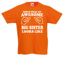 Awesome Big Sister Camiseta 3-13yrs Regalo de Cumpleaños Chicas Divertido z1