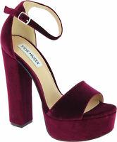 Steve Madden Women's platform heel ankle strap sandals shoes in burgundy velvet