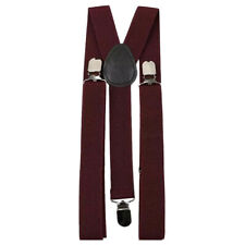 New Adult Men's Burgundy Deep Red Braces Adjustable Heavy Duty Clasps.