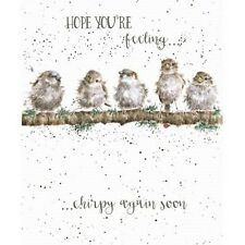 Wrendale Designs get well Greeting Card Birds hope you feel chirpy soon