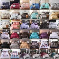 Soft Satin Silk Duvet Cover Bedding Set Pillowcase Twin King Queen Single Double