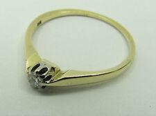Ring Solitär 14 K 585 Gold Brillant ca. 0,10 Wesselton Gr. 57/58 Verlobung