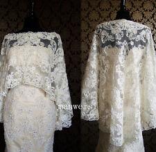 White&Ivory Lace Jackets Shawl Bolero Wedding Jacket Bridal Wrap Hi-Lo Custom