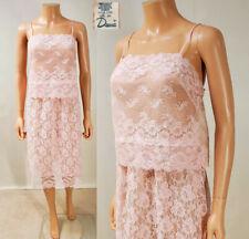 Vtg Deena Sheer Pink Lace Over Chiffon 2-pc Nightie or Cami & Half Slip Sz 36