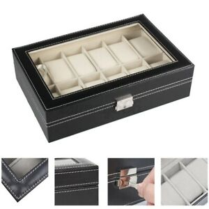 2-12 Grid Slots Watch Box Leather Display Leather Jewelry Storage Case Glass Top