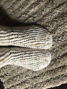 Handmade Crocheted Slippers Socks Adult Size 39-40