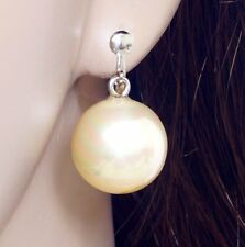 292af32508e  E122N Pair CLIP ON EARRINGS Dangle Big 15mm Round Faux Pearl Drop Bridal  Women