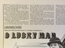 a1m ephemera 1970s film picture article o lucky man malcolm mcdowell