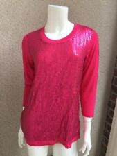 NWT DG2 By Diane Gilman Woman 3/4 Sleeve Tee Pink Sequins SZXS  Evening