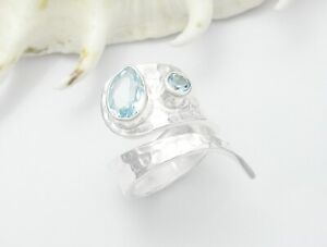 925 STERLING SILVER ADJUSTABLE BLUE TOPAZ GEMSTONE RING
